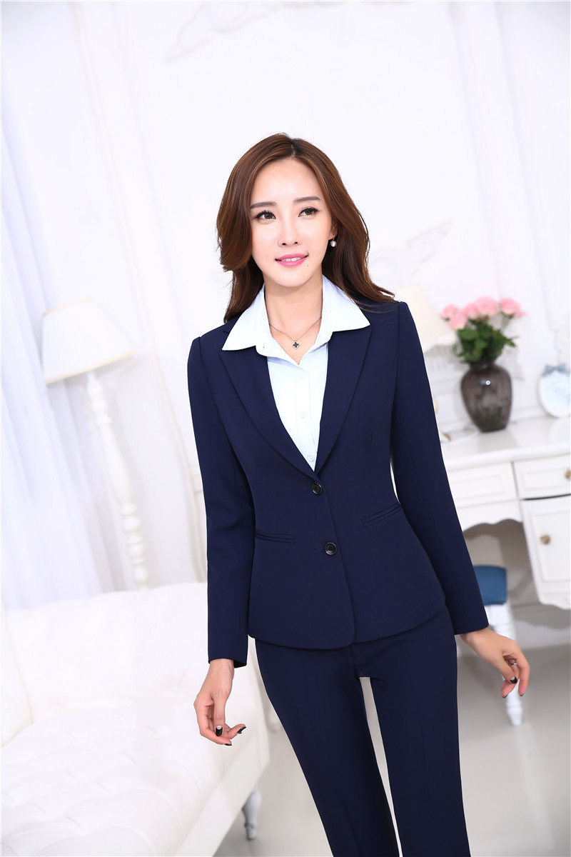 New Autumn Winter Uniform Designs Pantsuits With Jackets And Pants Office ladies Busines ...