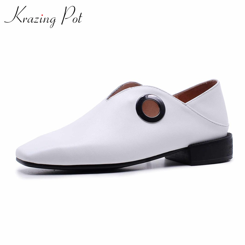 Krazing Pot genuine leather low heel strange style pumps retro British preppy style women square toe leisure causal shoes L66 krazing pot new fashion brand shoes patent leather square toe preppy style low heel sweet ankle strap women pumps mary jane shoe