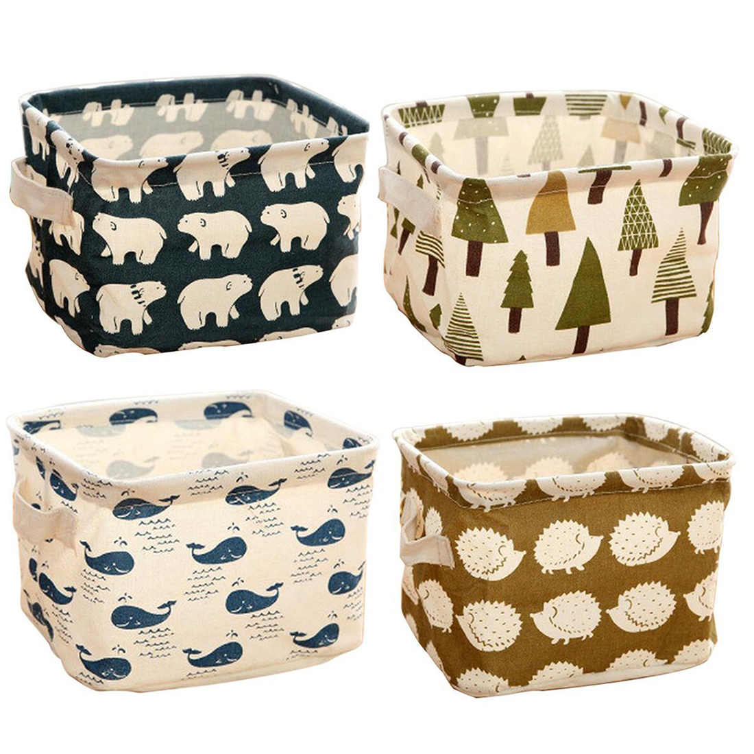 Cotton Fabric Storage Basket DIY Desktop Folding Toy Storage Box Floral Animal Jewelry Cosmetic Makeup Stationery Organizer