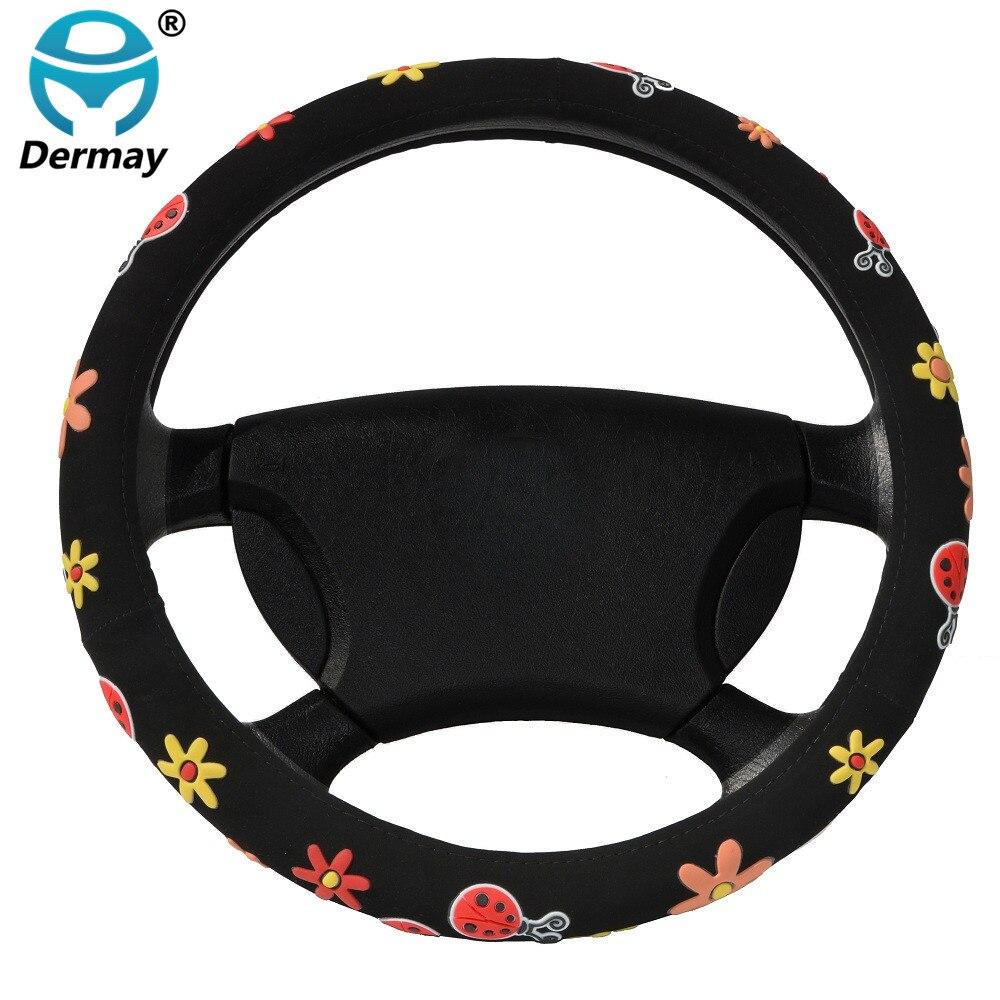 CUTE STEERING WHEEL COVERS Beatles Flowers Fit Steering-Wheel 14-15 (37-38.5CM) Car Accessories For Girls Female Personalized
