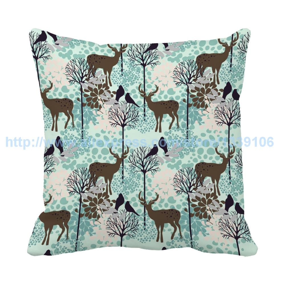 New arrival cartoon deers birds beautiful scene printed christmas cushion sofa bed decorative pillow almofada filling cotton