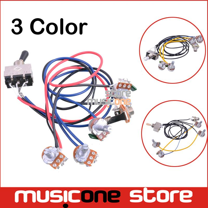 1 set Wiring Harness Prewired 2v2t 3 way Toggle Switch Jack 500k