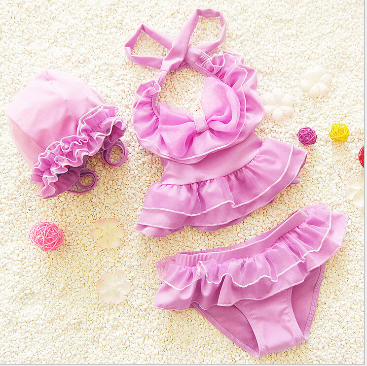 Solid Big Bow Halter Bandage Tankini Set Swimsuits Baby Gilr Cover Ups Lovely Bathing Suits Children Gauze Maillot De Bano EF717