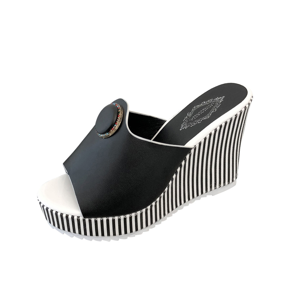 2018 Women Shoes Summer Beach Sandals Slope Stripe Platform High-heeled Woman Sandals Thick Crust Muffin Slipper Flip Sandals slope with super high heels 14cm platform shoes sandals and slippers spring and summer fish head thick crust waterproof shoes