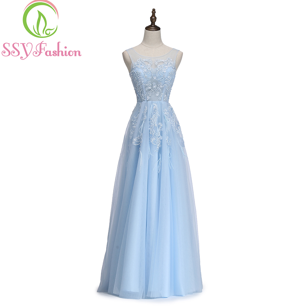 e2dd1bfb26b9 SSYFashion New Fresh Light Blue Lace Evening Dress The Bride Banquet Scoop  Sleeveless Lace Appliques Long