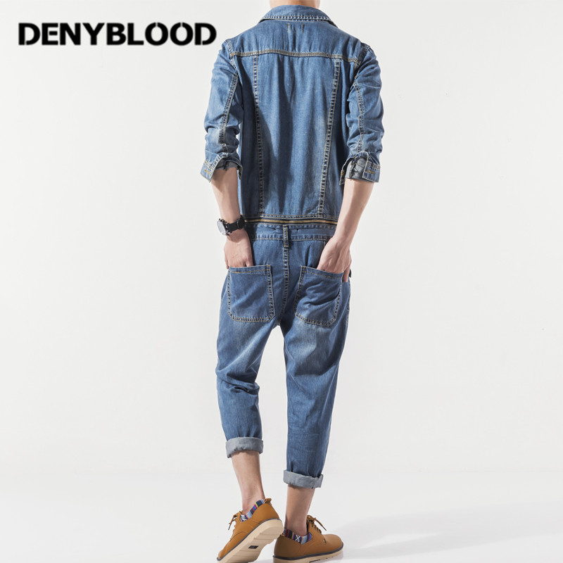 Denyblood Jeans Mens Denim Overalls Full Sleeves Slim Straight Bib Pants Jumpsuit for Man Working Clothing 2017 Autum New 2026 2016 brand mens denim overalls fashion bib jeans skinny overalls for men hole slim black and white suspender pants m xxl