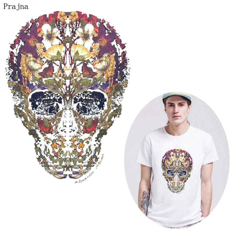Prajna Mexican Skull Patch Vinyl Heat Transfer For Clothes T shirt Thermal Heat Transfer Sticker Iron On Transfer PVC Patch