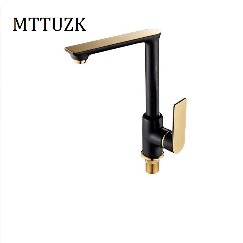 ФОТО MTTUZK Luxury Design brass Roasted Paint Hot Cold Water Mixer Tap Single Handle  Black Kitchen Faucet Sink Tap Faucet Crane
