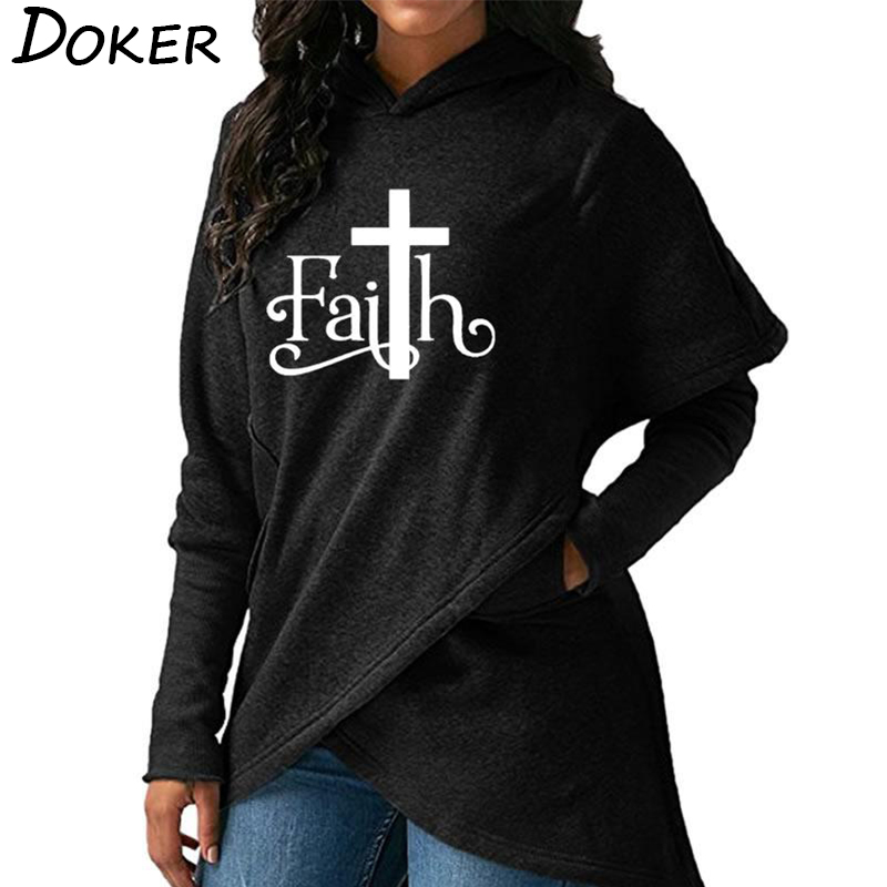 2019 Autumn New Faith Letter Print Fashion Hoodies Sweatshirts Women Hooded Pullover Sweatshirt Female Casual Warm Tops 6 Colors