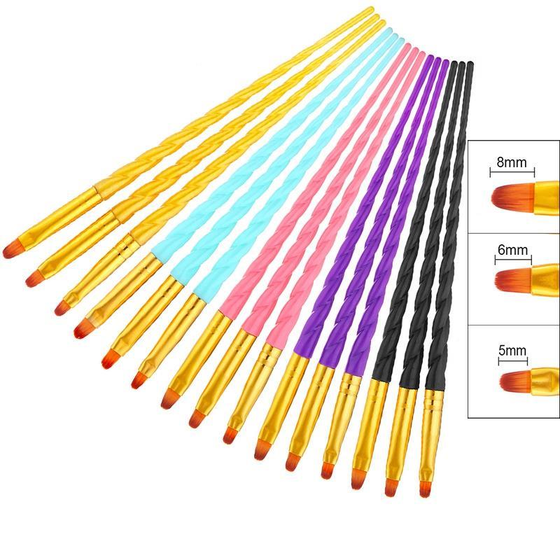 3Pcs/Set Nail Art Screw Thread Acrylic Uv Gel Extension Builder Painting Brush Pattern Design Drawing Pen Manicure Tool