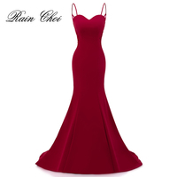 Real Photo Elegant Mermaid Prom Dresses Sexy Burgundy Formal Evening Dress With Appliques Long Party Gown