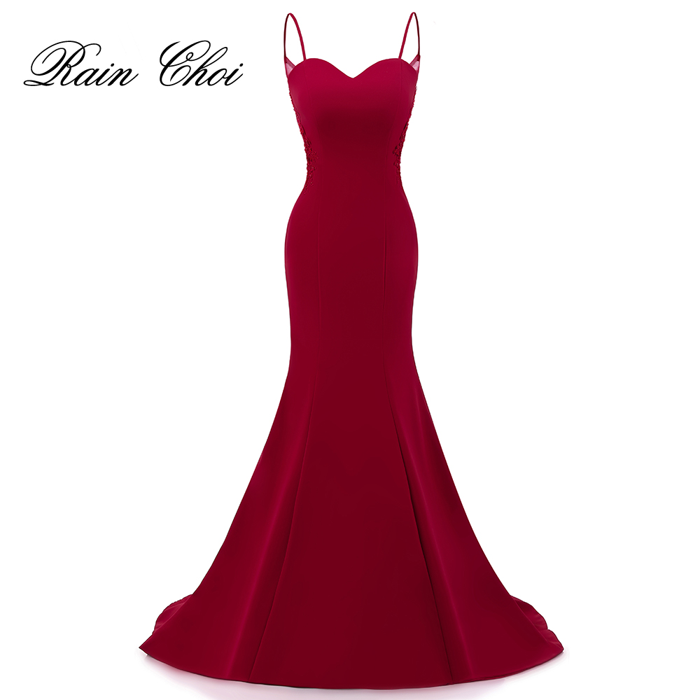Real photo Elegant Mermaid   Prom     Dresses   Sexy Burgundy Formal Evening   Dress   With Appliques Long Party Gown 2019 Vestido De Festa