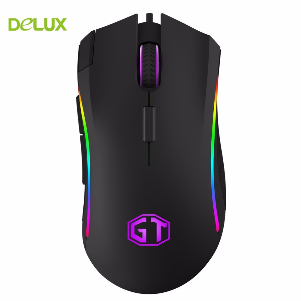 Delux M625 PMW3325 Fashion 5000 DPI Wired Mouse With Colorful RGB Light One-piece Design Classic Solid Appearance Black Shell ...