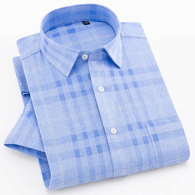 チェック柄夏メンズファッションカジュアルシャツ半袖ドレスシャツ社会メンズスリム模造ライン masculina 簡単ケア