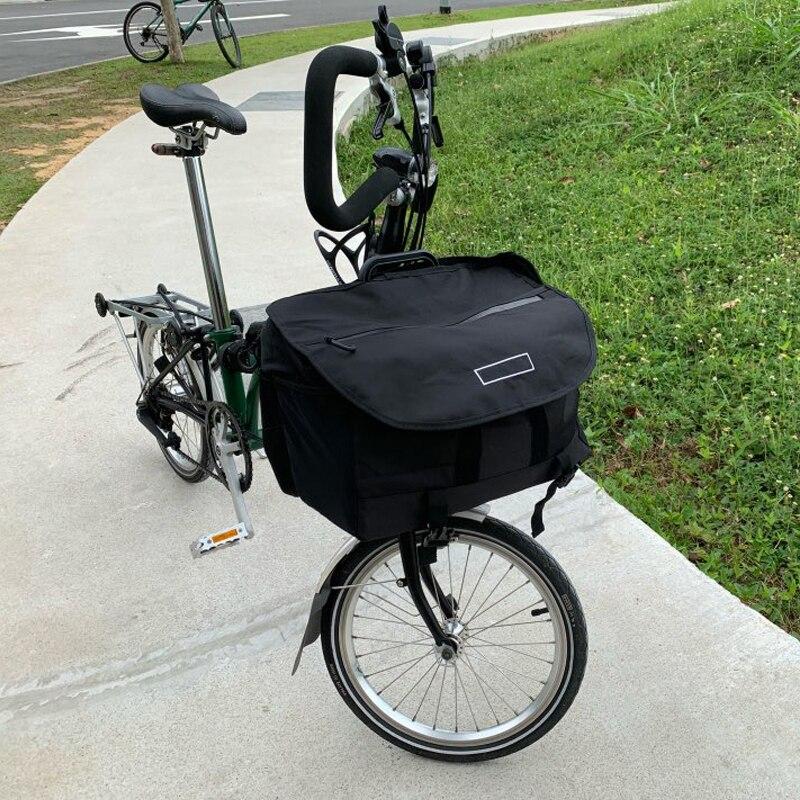 AGEKUSL S sacs étanche vélo Panniers pour Brompton vélo pliant légumes bagages panier avec couverture étanche à la pluie support bloc