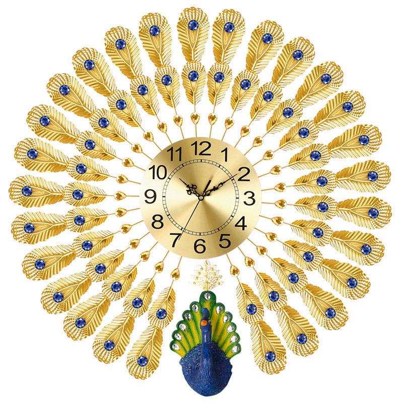Peacock wall clock modern brief personality quartz creative home decoration clock Mute scan movement precise travel time