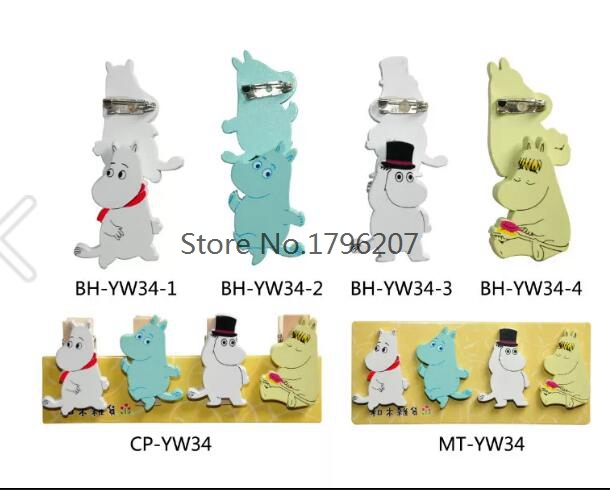 30sets 4 pcs set cartoon Japanese anime Badges cute kids Cartoon Wooden brooches Icons On Backpack