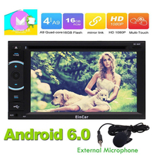 Android 6.0 Car Stereo Autoradio 2 Din Head Unit GPS Navigation DVD CD Player Bluetooth WIFI Radio FM/AM Receiver External Micro