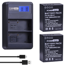 PowerTrust 2Pcs BLH-1 BLH1 BLH 1 Replacement Battery and LCD USB Dual Charger for Olympus E-M1 Mark II Camera