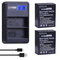 PowerTrust 2Pcs BLH 1 BLH1 BLH 1 Replacement Battery And LCD USB Dual Charger For Olympus