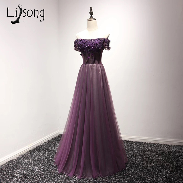 Off Shoulder Dark Purple Liques A Line Prom Dresses Long Plum Vintage Maxi Gowns