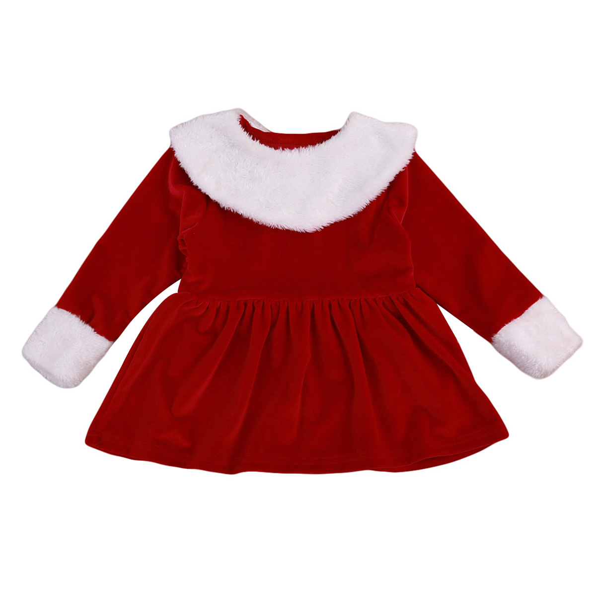 2017 Christmas Newborn Toddler Baby Girls Long Sleeves Velvet Dress Red  Patchwork Christmas Cute Holiday Clothes 0-4Y 4ea96a0ba