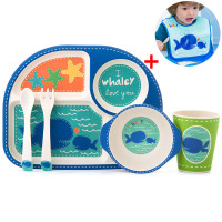 6pcs/set children plate baby bamboo fiber tableware set Animal bamboo fiber plate Tableware with bib Christmas gift