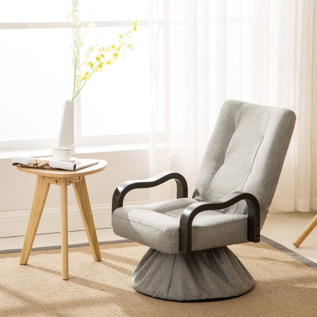 Modern Foldable Lounge Swivel Chair 360 Degree Rotation Living Room Furniture Large Folding Relax Upholstered Armchair