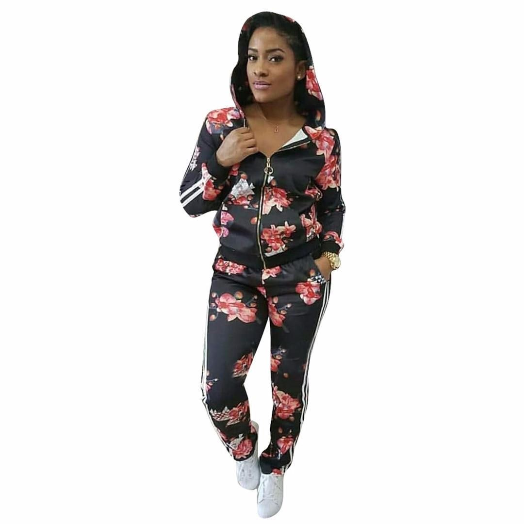 Black Tracksuit Set Women Two Piece Sets 2018 Fashion Print Full Sweat Suits Long Sleeve Top + Pants 2 Piece Set Ld Linda Della