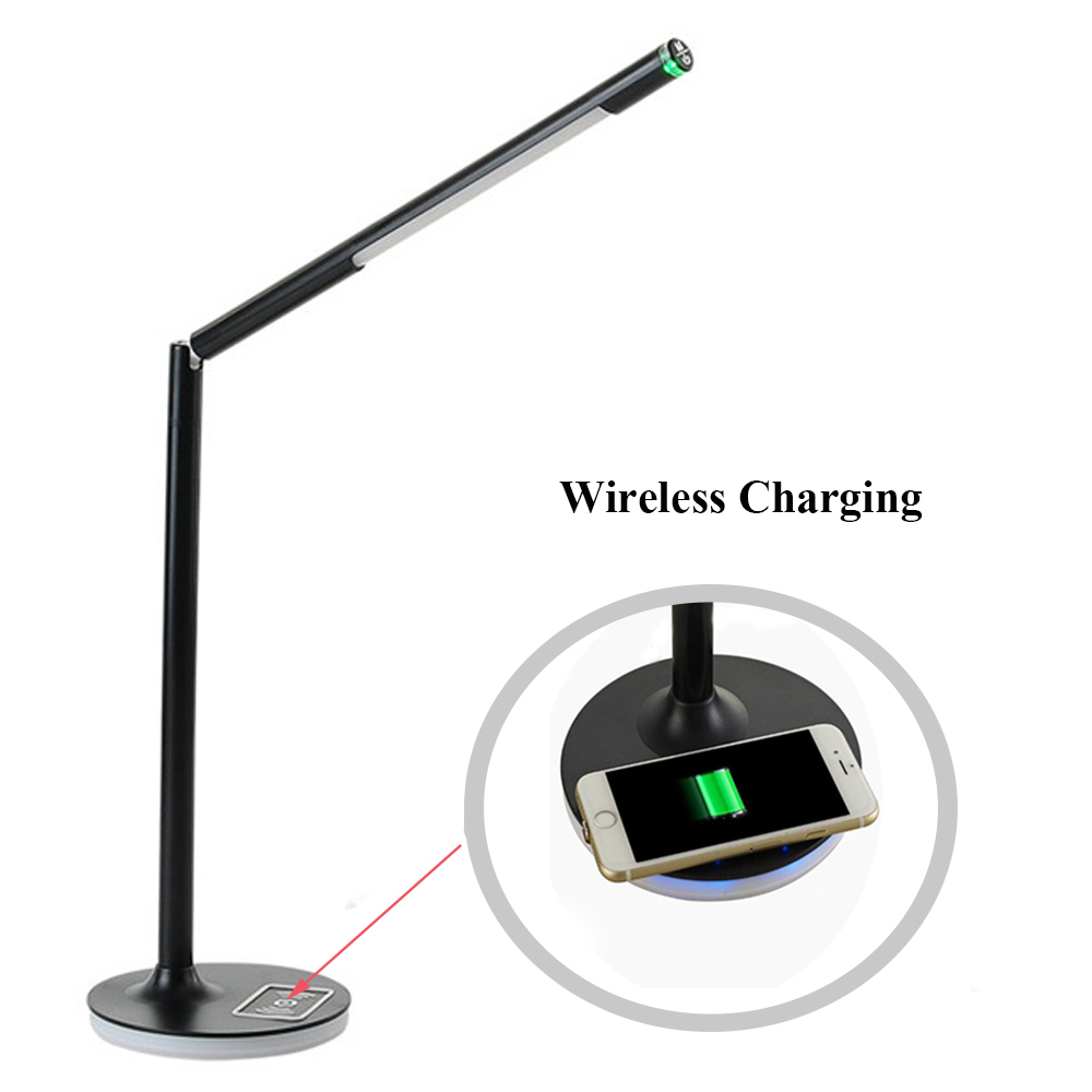LED Table Lamp Wireless Charging Dimmable Touch Eye Protect Removable Office Read Desk Light 360 Degree Rotation Ouput Charger