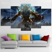 5 Panles The Legend of Zelda Breath of The Wild Game Poster Living Room Decor Canvas Print Wall Art No Frame