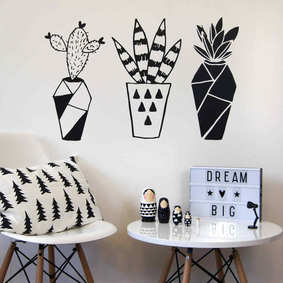 ZOOYOO Geometric Cactus Potted Plants Wall Sticker Home Decor Living Room Bedroom Wall Art Murals Decoration Wallpaper