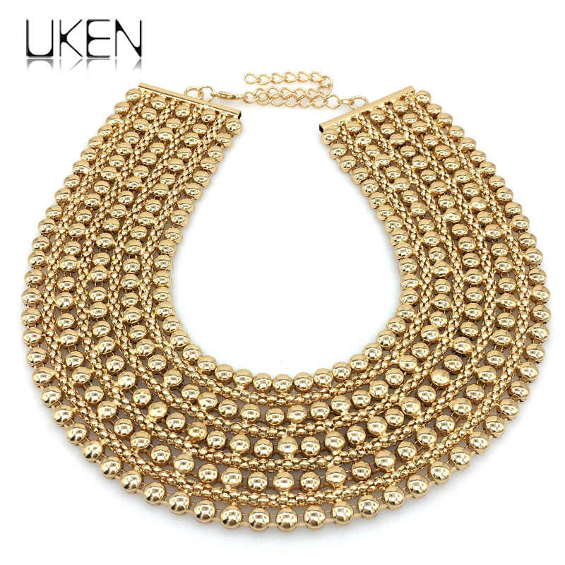 Danfosi Metal Beads Chunky Maxi Necklaces For Women 2017 Fashion Choker Collar Statement Necklace Vintage Jewelry Bijoux Femme