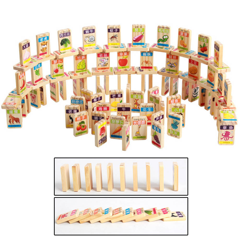 100pcs Wooden Blocks Fruit and Animals Dominoes Game Play Kids Early Educational Wood Toy for Children Birthday Christmas Gift