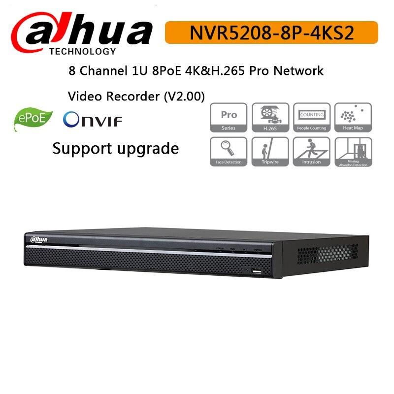 Dahua 8ch poe nvr NVR5208 8P 4KS2 8 Channel 1U 8 PoE 4K H 265 Pro