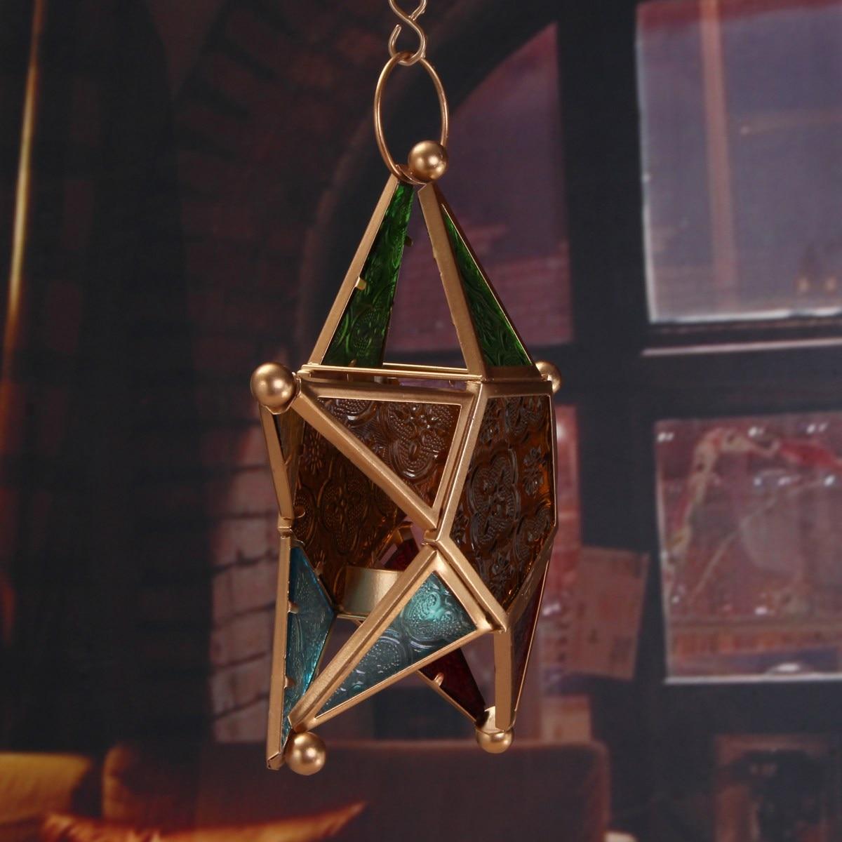 Engraving Star Glass Votive Tea Light Candle Holder Hanging Lighting ...