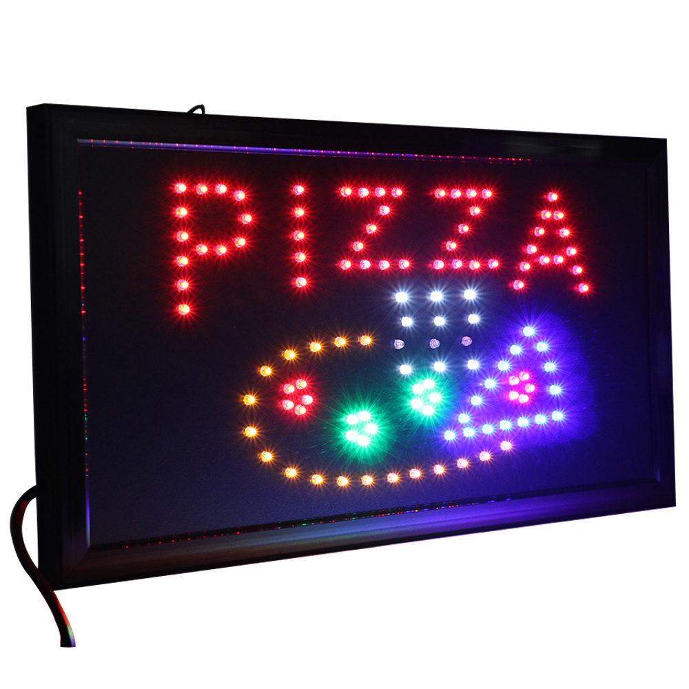 CHENXI 21 Styles Led Pizza Shop Open Neon Signs Indoor Animated Motion Running 19*10 Inch Pizza Store Food Display.