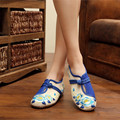 2 Colors Autumn Fashion Women's Shoes Old Peking Demin Flats,Ladies Twin flowers Embroidery Soft Sole Casual Shoes Big Size