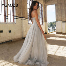 YGMJZB Elegant Grey Prom Dresses 2019 A-Line Party Dress