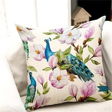 Animal Flower Printed Home Pillowslip Grey Back Square Soft Pillow Cover Birds Print Linen Pillow Case BedHome D(China)
