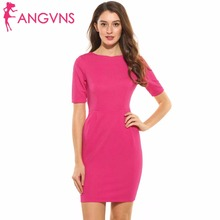 ANGVNS Ladies Pencil Dresses Summer Bodycon Pleated Split Business Dress Elegant Vintage Half Sleeve Party Dresses with Pocket