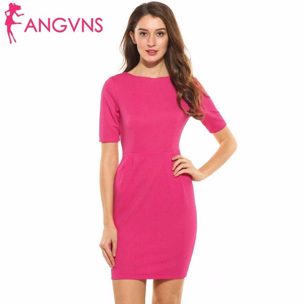 ANGVNS Ladies Pencil Dresses Summer Bodycon Pleated Split Business Dress Elegant Vintage Half Sleeve Party Dresses with Pocket