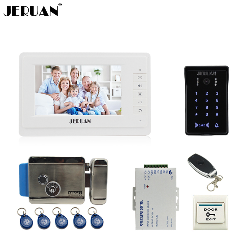 JERUA 7`` video doorphone intercom system Kit brand New RFID waterproof Touch Key password keypad Camera Electric control lock jeruan wired 7 touch key video doorphone intercom system kit waterproof touch key password keypad camera 180kg magnetic lock