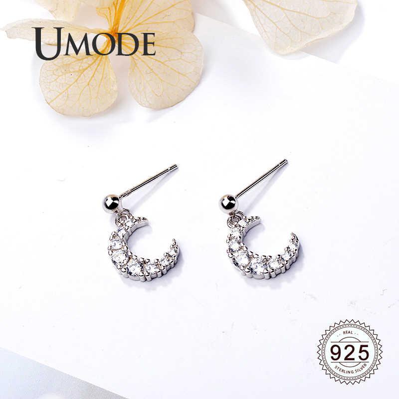 Umode Maan 925 Stelen Zilveren Oorbellen Voor Vrouwen Oorhangers Zirconia Bruiloft Mode Sieraden Accessoires LE0613