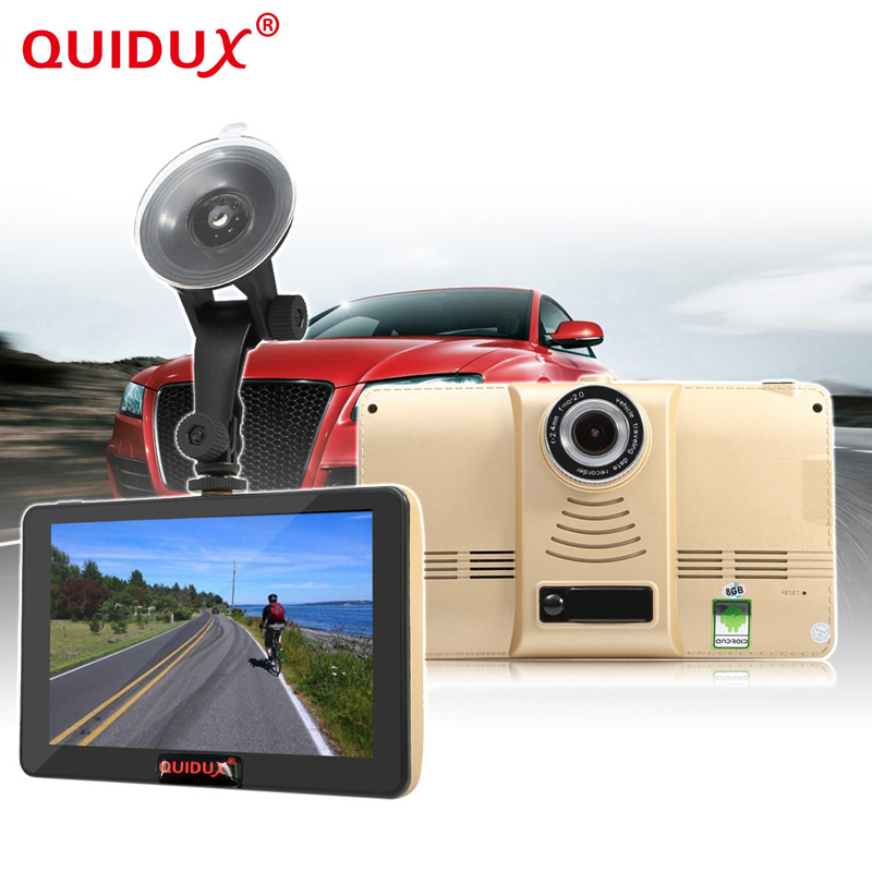 QUIDUX 7 Inch Capacitive Car DVR Camera GPS Navigator Recorder GPS Navigation WIFI FM Truck GPS Sat Nav 8GB Free Map Toruist quidux car dvr vehicle gps wifi android navigation 8g 512mb wifi auto video camera recorder with europe us russia map