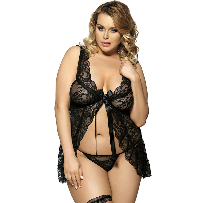 2016 New Arrival Plus Size Babydoll Lace See Through Women Underwear Sexy Strappy Sleeveless Hot Erotic Lingerie Sheer Nightgown
