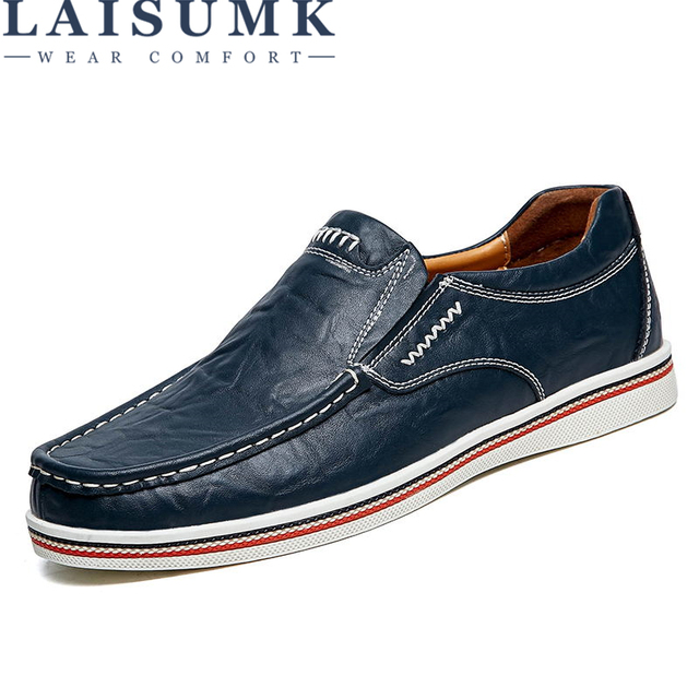 Laisumk Brand Minimalist Design Split Leather Men Dress Shoes Hot