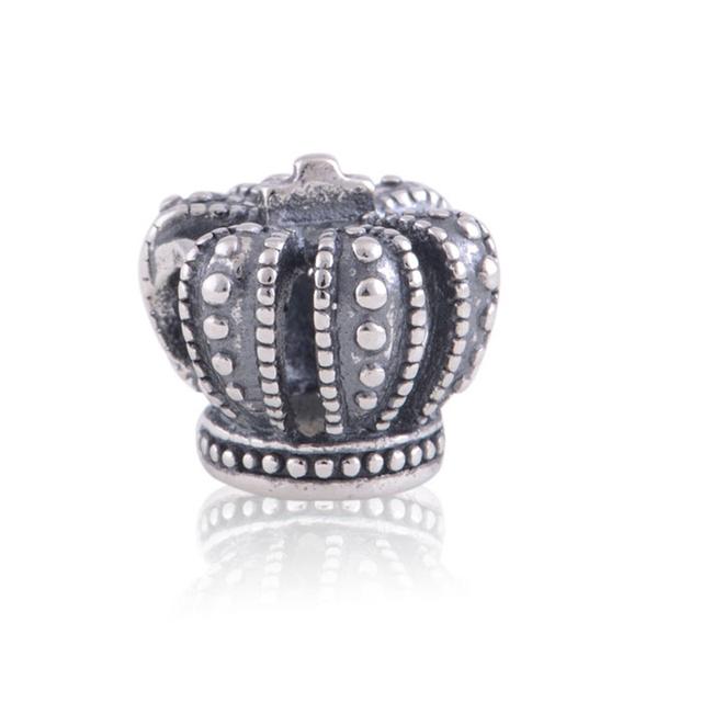 Princesa Tiara Coroa do Rei do vintage Encantos 925 Sterling Silver Moda Jóias DIY Fazendo para As Mulheres Se Encaixam Pulseiras Marca Charme