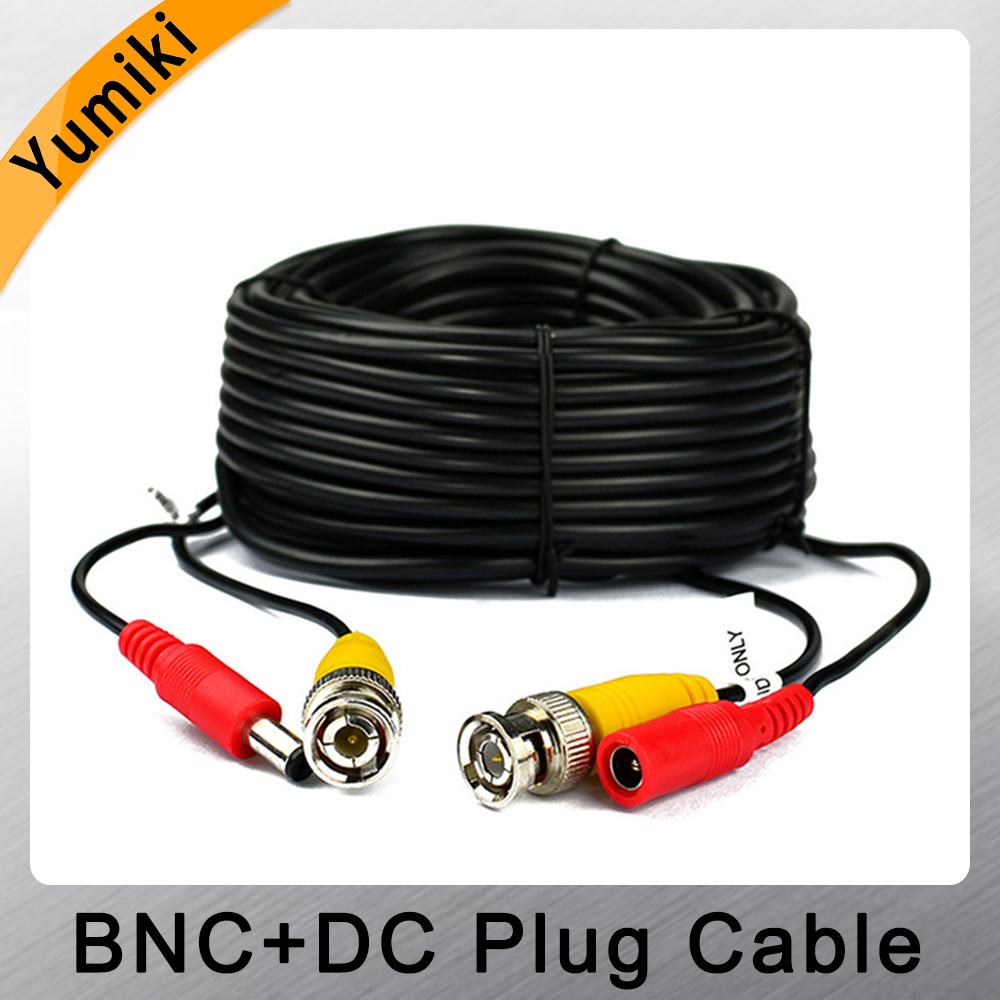 Yumiki BNC DC Plug Cable 5m/10m/15m/20m/30m/40m/50m CCTV Video In/Output Cable For AHD TVI CVI Analog System DVR Kit Accessories