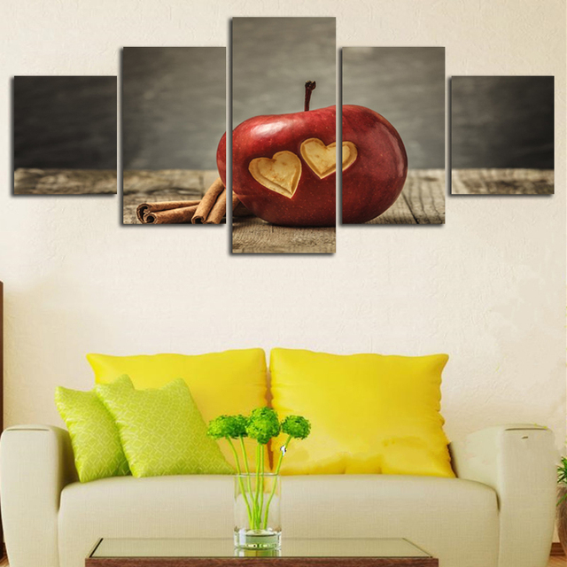 Engraved Love On Fruit Photograpyh 5 Panels Canvas Wall Art Pictures ...